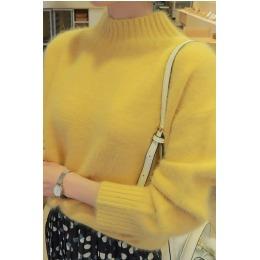 韩国新款纯色半高领保暖貂绒毛衣8034现货优质版
