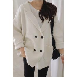 韩国新款气质时尚优雅简约百搭洋气复古温柔纯色毛衣开衫外套8277