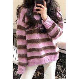 甜美网红定制海马毛时尚小香风条纹圆领好质量套头毛衣5241
