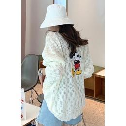 韩国东大门2020夏季背后米奇印花罩衫薄针织衫慵懒宽松防晒上衣女