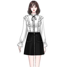 2020初秋新款设计感蝴蝶结雪纺长袖衬衫+高腰显瘦A字裙职业两件套