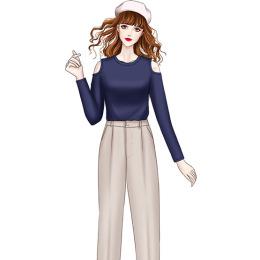 2020早秋新款气质韩版网红漏肩长袖T恤+复古哈伦九分烟管裤两件套