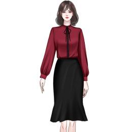 实拍鱼尾裙套装女2020早秋新款时尚轻熟风气质御姐雪纺衬衣两件套