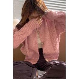 网红东大门粉色毛衣女外穿宽松2020早春秋很仙的针织开衫外套