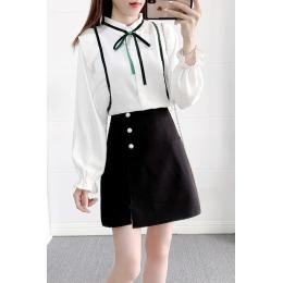 5052#实拍秋季女装长袖洋气拼接小衫领带蕾丝上衣短裙两件套装女