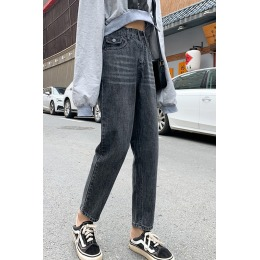 大码松紧腰牛仔裤女2020年秋季新款韩版宽松显瘦显高老爹哈伦裤