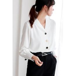 5226实拍2020早秋新款雪纺衬衫女设计感小众复古港味V领衬衣长袖