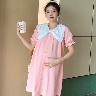 实拍大量现货 孕妇夏装短袖连衣裙宽松韩版潮妈裙子