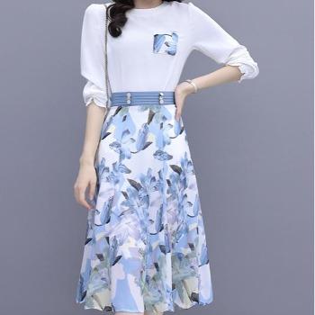 裙子套装女秋连衣裙2021新款显瘦T恤ins上衣印花半身长裙两件套女