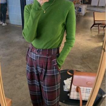 秋冬新款牛油果绿堆堆高领加厚打底毛衣女内搭针织衫洋气百搭上衣