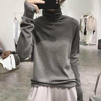 高级灰堆堆高领毛衣女2020新款秋冬内搭长袖修身套头针织打底衫潮